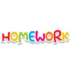 Font design for word homework on white background vector