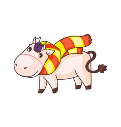 funny cow cartoon character wearing scarf isolated vector image