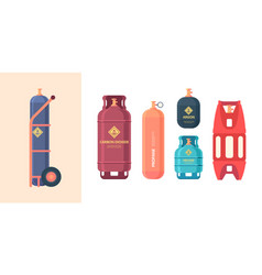 Gas cylinder high pressure steel containers vector