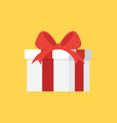 gift box decorative with red ribbon flat design vector image