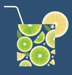 Glass citrus juice or cocktail made up lime vector