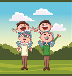 Grandfathers carrying grandchildren park vector
