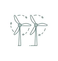 green energy wind turbines icon in line art vector image