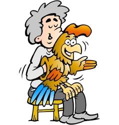 hand-drawn an a ventriloquist entertains vector image