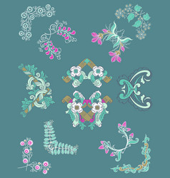 Hand drawn colorful corner borders set vector