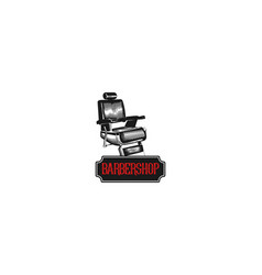 hand drawn vintage chair barber shop logo vector image