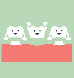 Happy dental crown with bridge vector