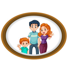happy family photo on wooden frame vector image