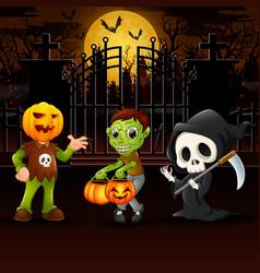 Happy kids wearing halloween costume outdoors at n vector