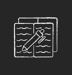 Homework chalk white icon on dark background vector