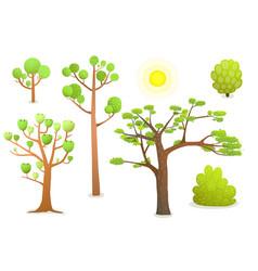 isolated cartoon trees vector image