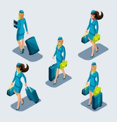 isometry set stewardess girls in beautiful vector image