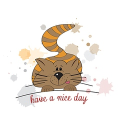 kitty wishes you a nice day vector image