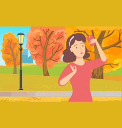 lady using phone in park wireless device vector image
