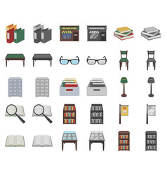 Library and bookstore cartoonmonochrom icons in vector