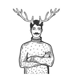 man with deer horns engraving vector image