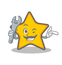 Mechanic star character cartoon style vector