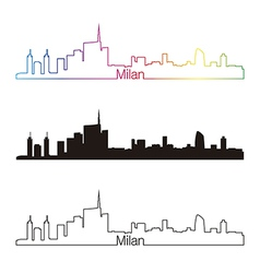 Milan skyline linear style with rainbow vector