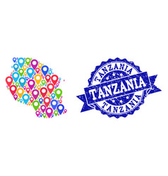 Mosaic map of tanzania with map markers and vector