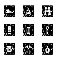 Nature tourism icons set grunge style vector