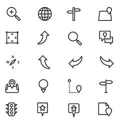 Navigation Line Icons 3 vector image