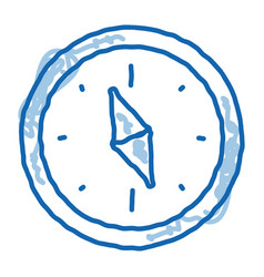 Navigational compass tool doodle icon hand drawn vector