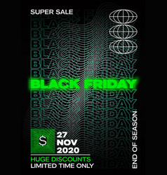 neon black friday typography banner poster or vector image