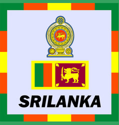 official ensigns flag and coat of arm of srilanka vector image vector image