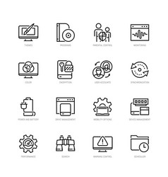 operating system and its management icon set vector image