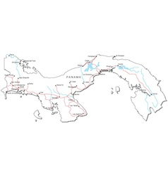 Panama Black White Map vector