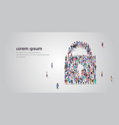 people crowd gathering in padlock icon shape vector image