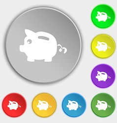 Piggy bank icon sign Symbol on eight flat buttons vector
