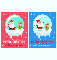 Postcard merry christmas happy new year santa elf vector