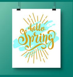 poster with a handwritten phrase-hello spring 5 vector image