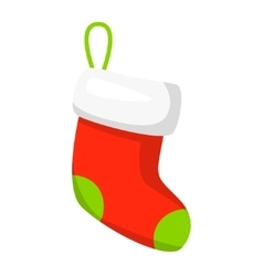 red Christmas stocking isolated on white vector image