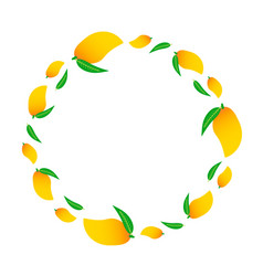 Round frame with yellow mango vector