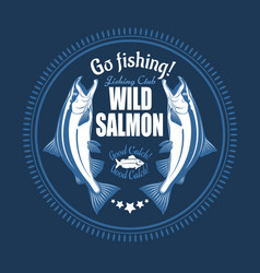 salmon fish vintage salmon fishing emblems vector image