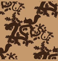 seamless pattern with leaves acorns and squirrels vector image