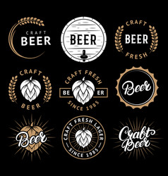 set beer labels in retro style vintage vector image