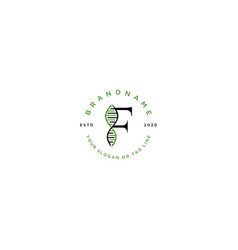 Set letter f dna logo design vector