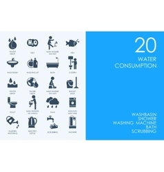 Set of BLUE HAMSTER Library water consumption vector