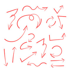 Set of hand drawn arrows circle and squares for vector