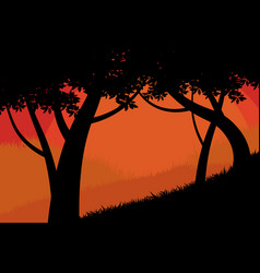 Silhouette trees forest scene vector