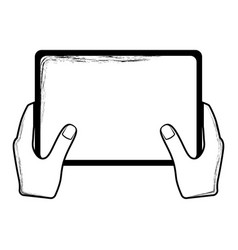 sketch of a hand holding a tablet vector image