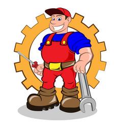 smiling mechanic man vector image