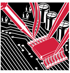 soldering and repair computer chip on board vector image