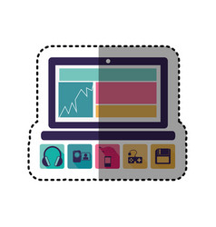 sticker colorful tech laptop with icon apps vector image