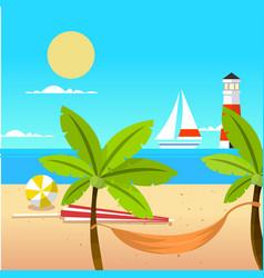 Summer beach ball coconut tree beach cot yawl ligh vector