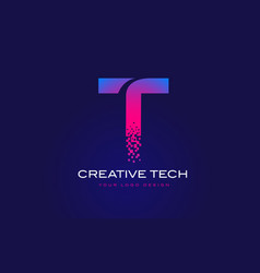 t initial letter logo design with digital pixels vector image