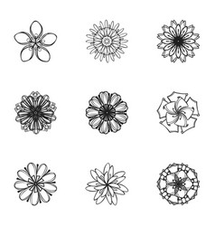 Tattoo flower icon set simple style vector